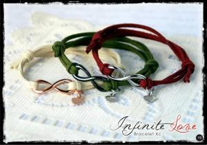 Linea gioielli Infinite Love - Cinturino camoscio bordeaux, avorio, verdone, testa di moro, carota, nero